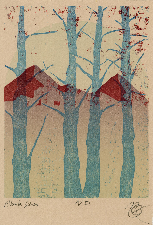 "Title: Alberta Lines | Artist:Jill Stanton | Size: Paper: 8x10"" | Medium: Relief print | Price: $50 CAD"