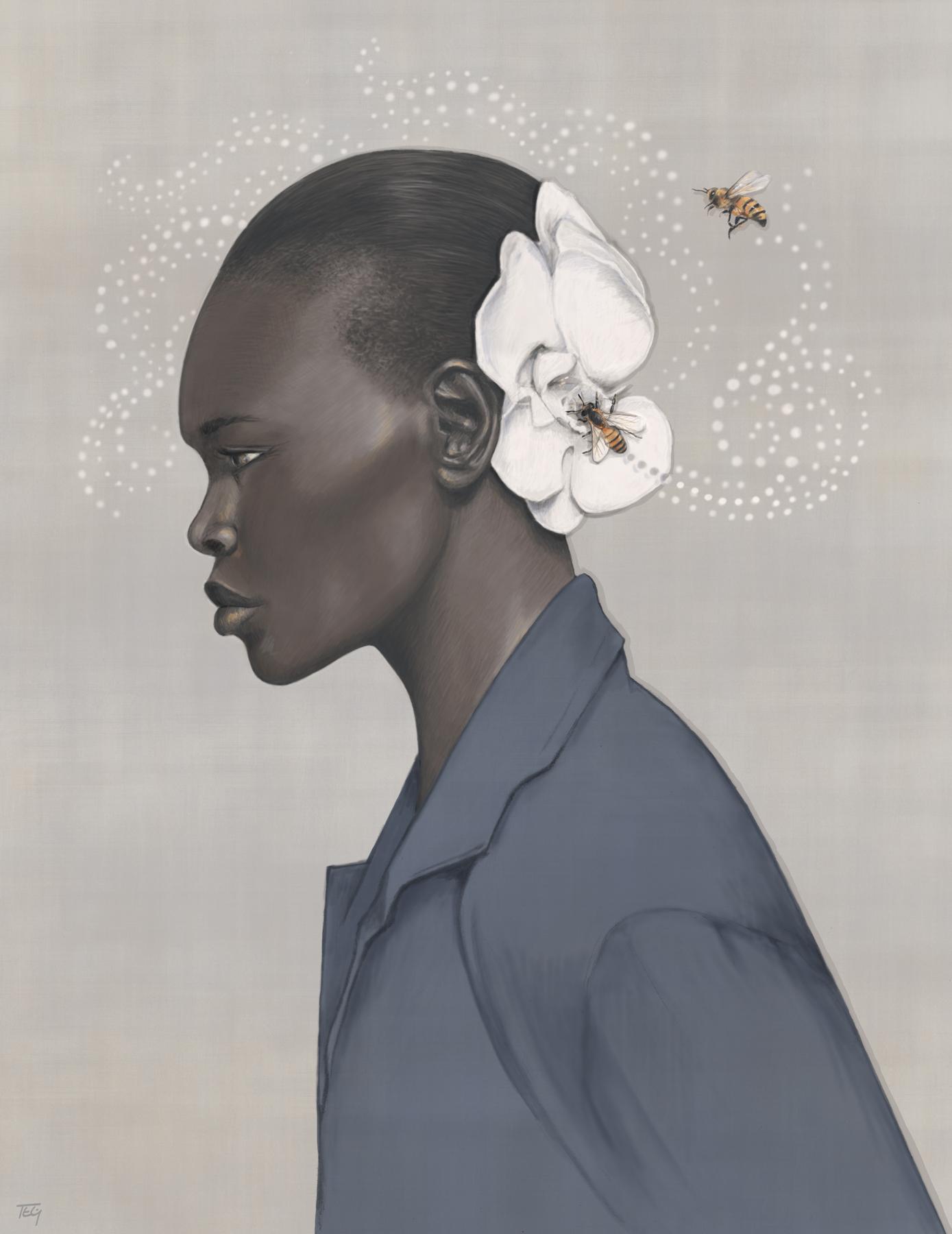 Queen Bee - graphite & digital painting, 2015