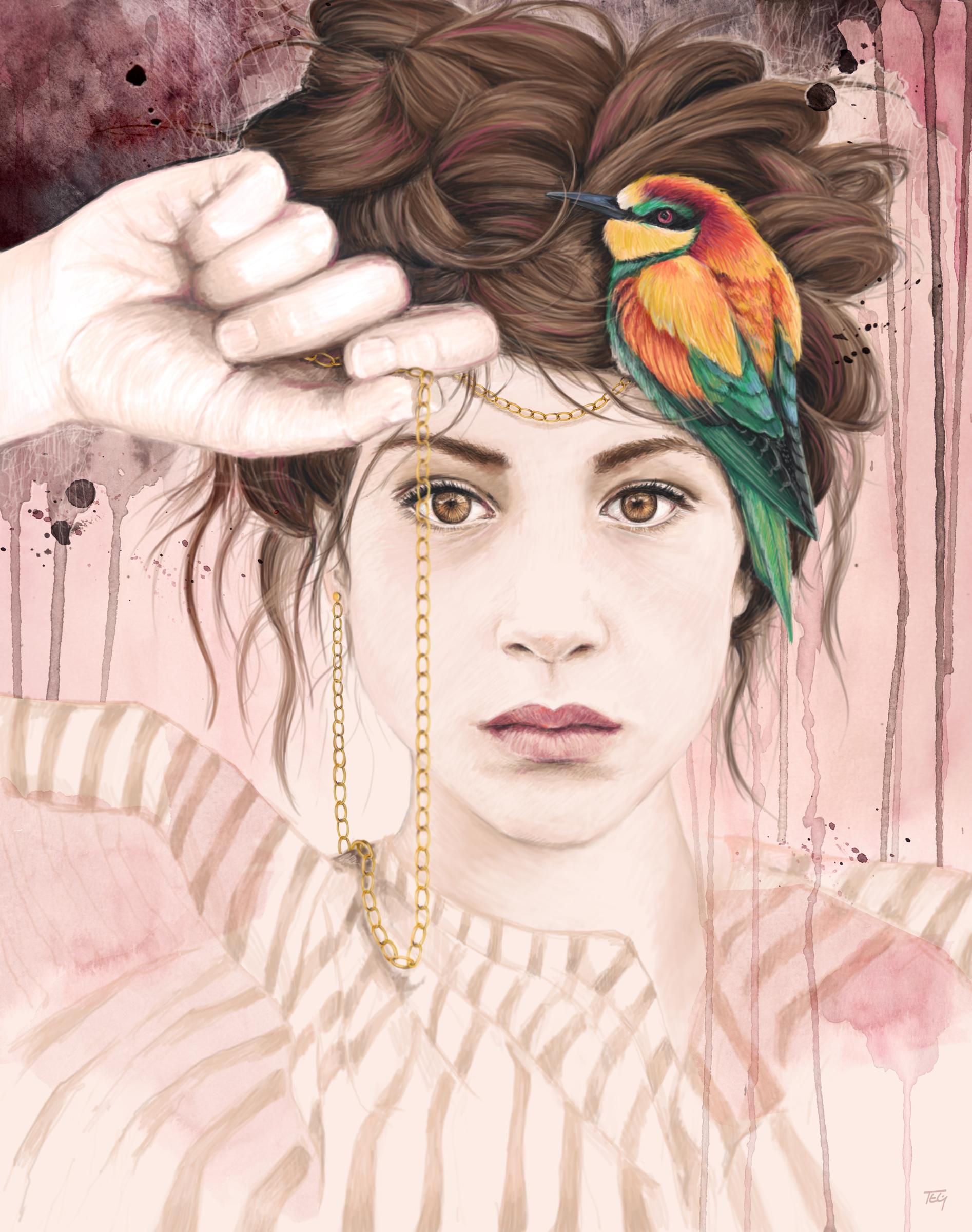 Jailbirds  - watercolor & digital painting, 2015