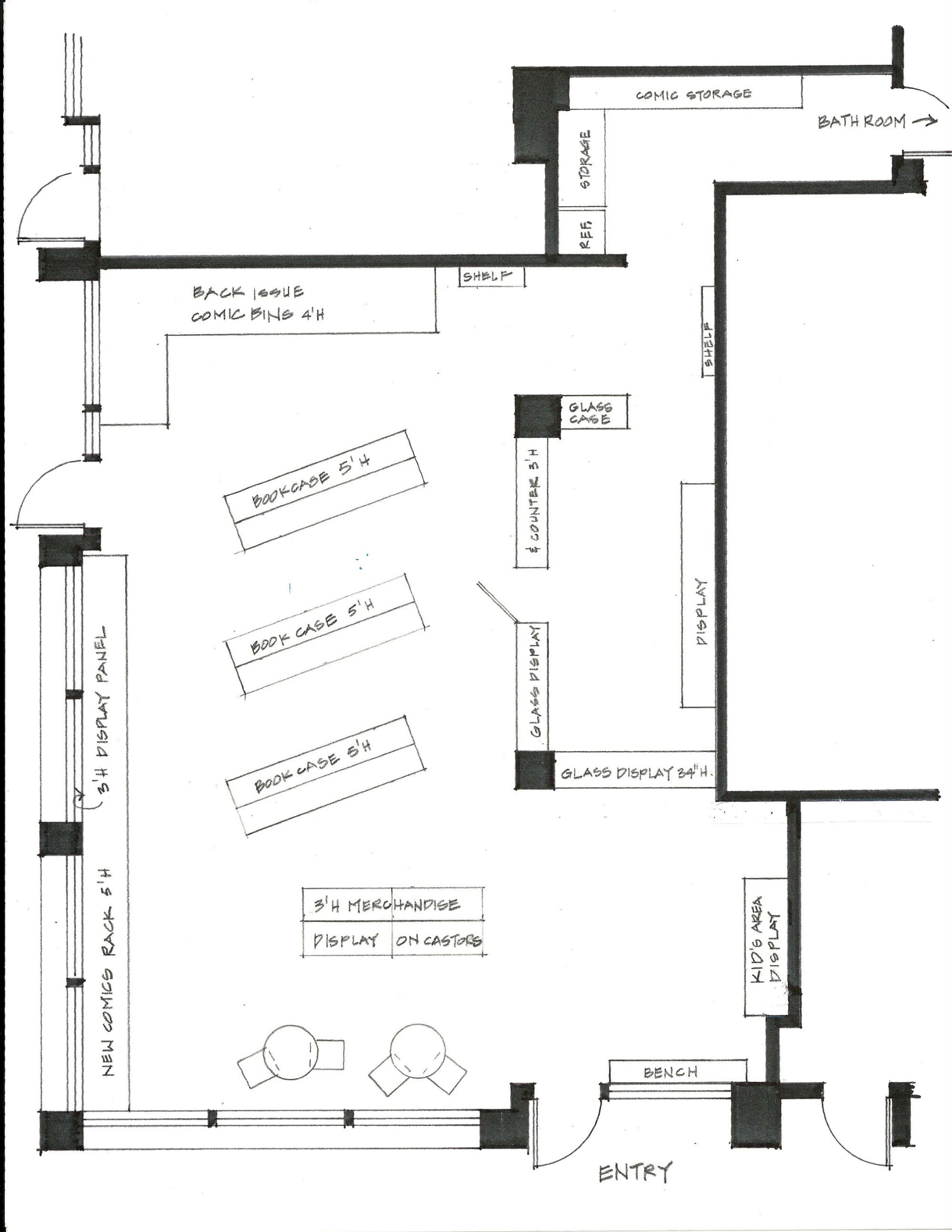 Cape and Cowl Comics Proposed Floor Plan