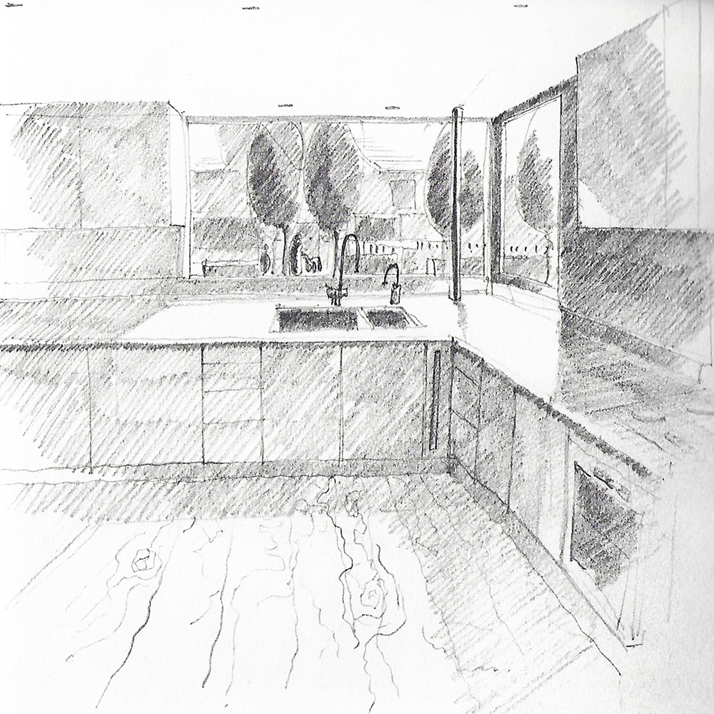 January 2019  Sketch view of the new home zone from the kitchen of one of our single family houses under construction in Hounslow.   Link to the project