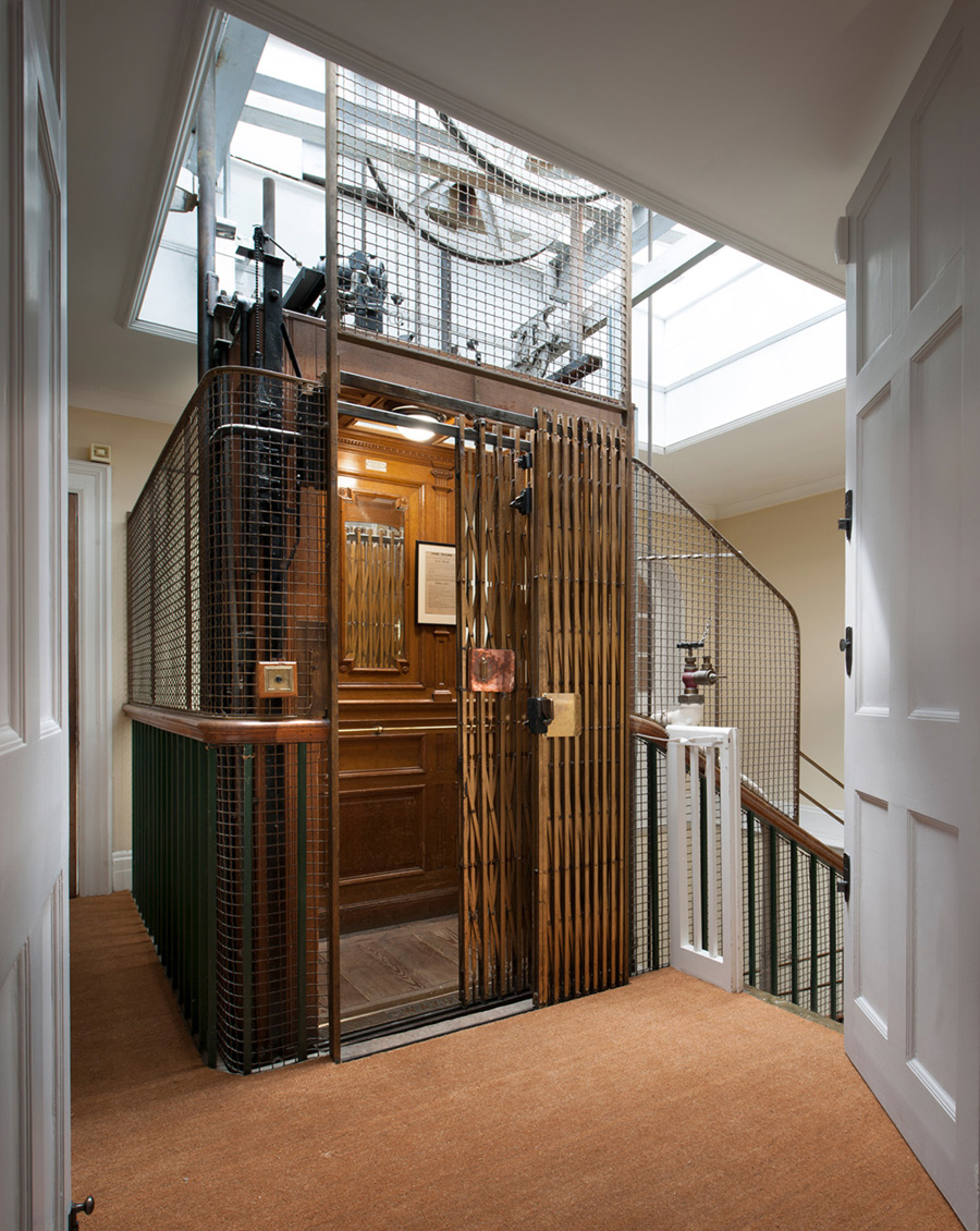November 2018  A beautifully re-conditioned Edwardian caged lift serving our refurbished penthouse apartment at Stansted House, Stansted Park. Installed in 1903 when the Grade II* house (by AC Blomfield) was reconstructed, it was manufactured by Waygood & Co and is one of the first electric lifts of its kind in the UK.   Link to project