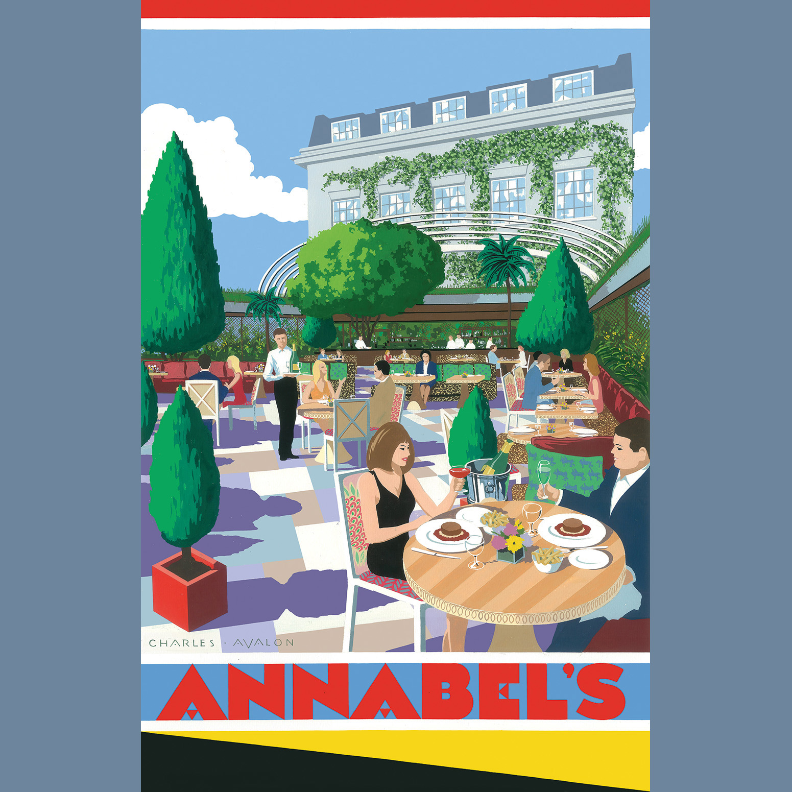 April 2019  We love this Art-Deco inspired poster of the terrace garden at Annabel's. A recently commissioned and beautiful artwork by Charles Avalon for Pullman Editions. It really captures the curvilinear form of our design for the glazed sliding canopy.   Link to the project