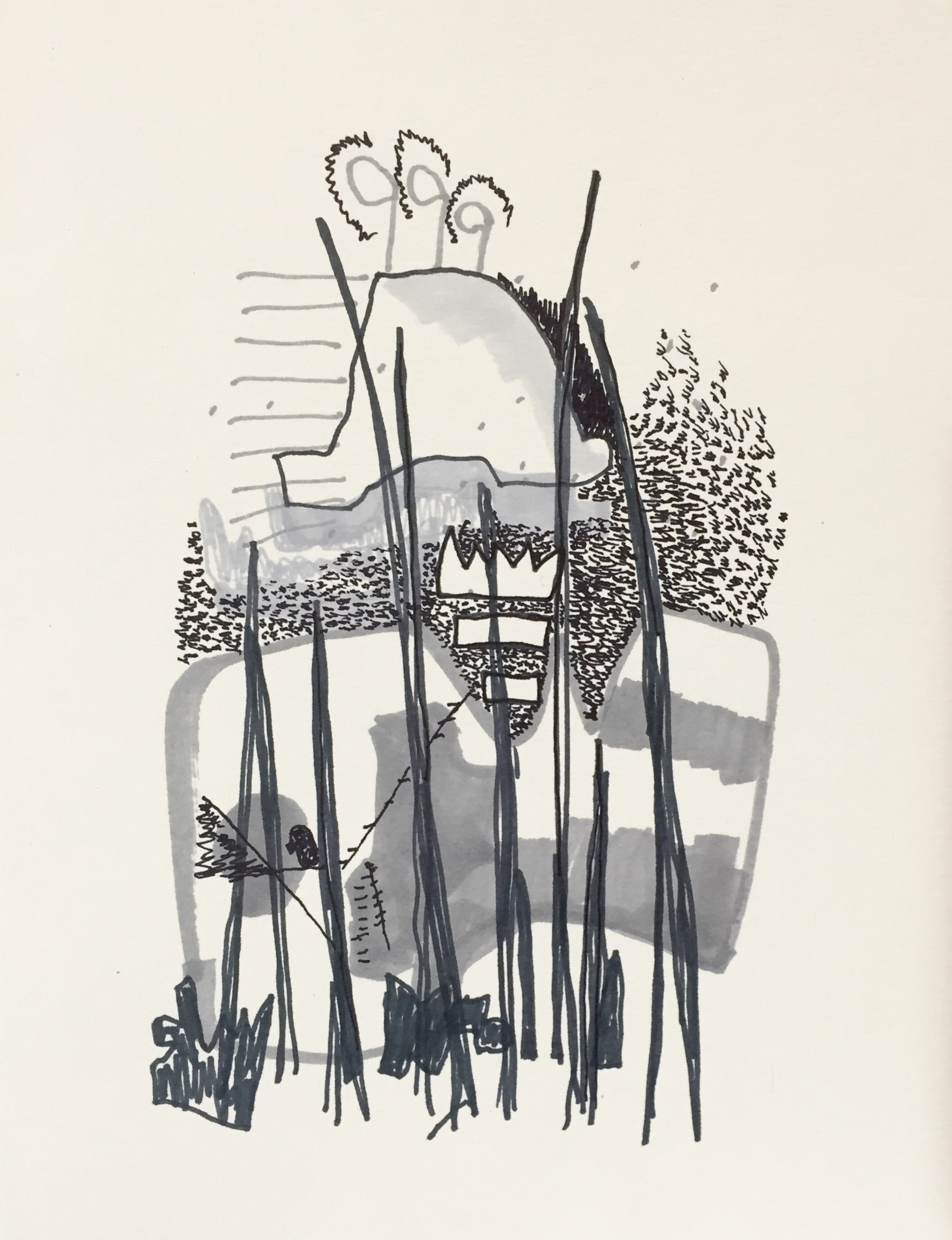 Marker, pen on 130 lb paper