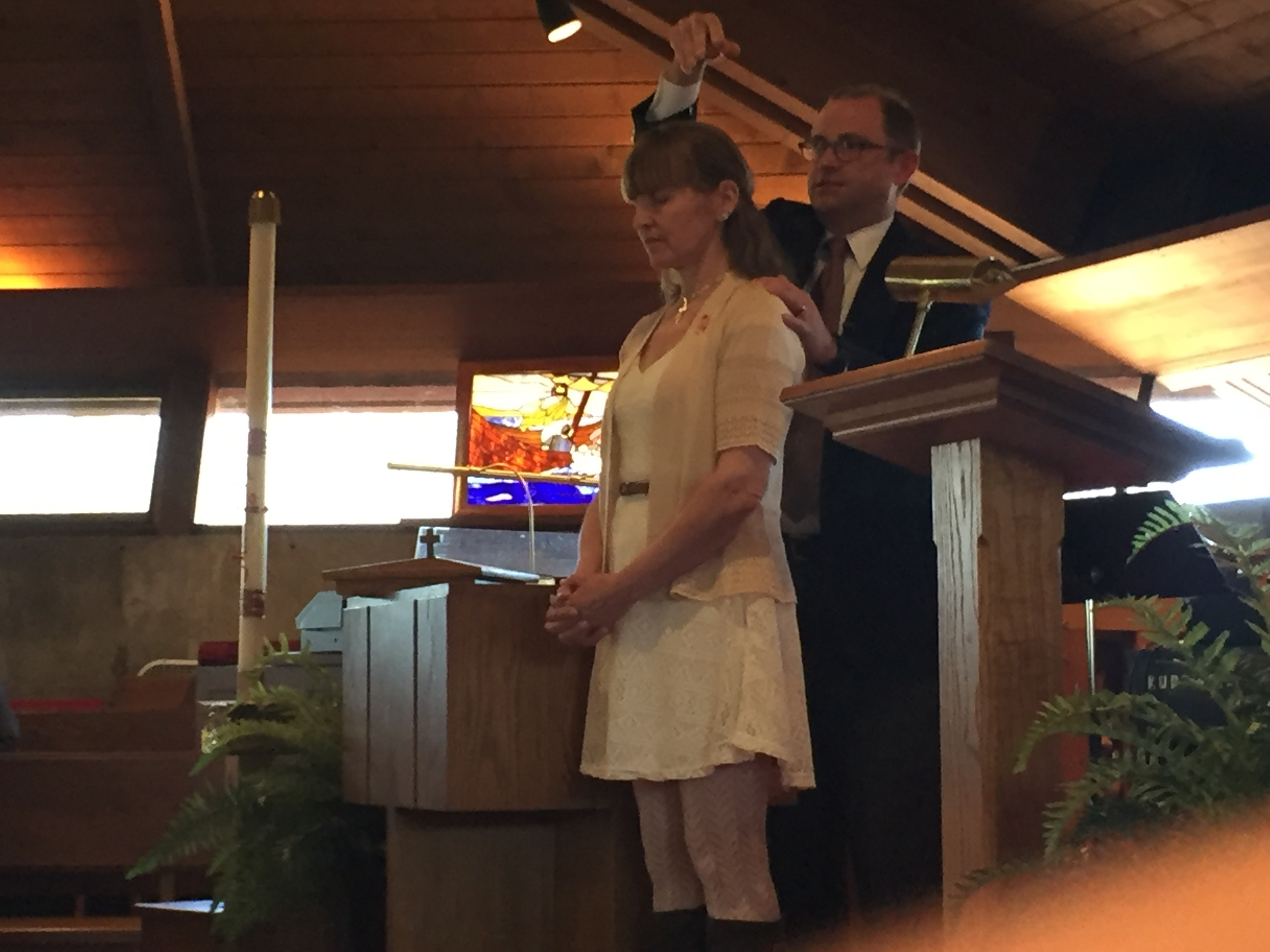 Kathy being baptized by Pastor Troy Albee