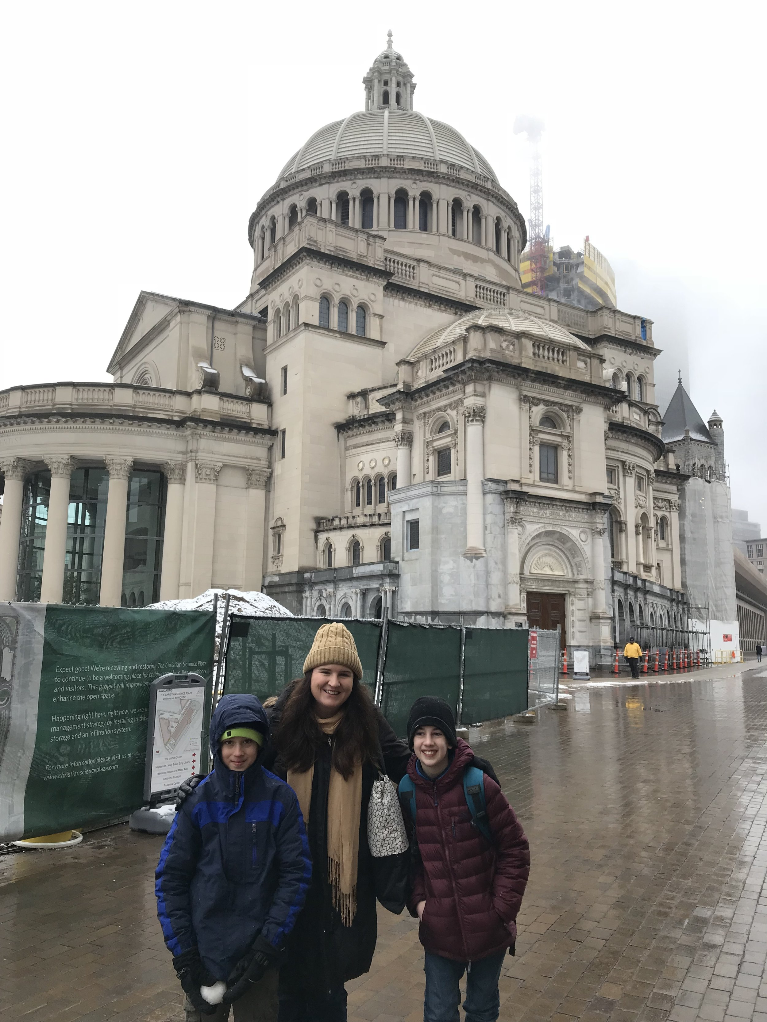 Katherine with the Ortiz boys at the Christian Science Church in Boston's South End