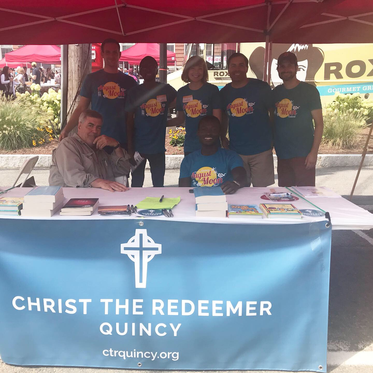 Christ the Redeemer Quincy volunteered to help set up the August Moon Festival in Quincy, then hosted a booth to give away Bibles and Jesus Storybook Bibles in English and Chinese, as well as pens and flyers about the church