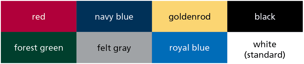 Standard Endsheet Colors