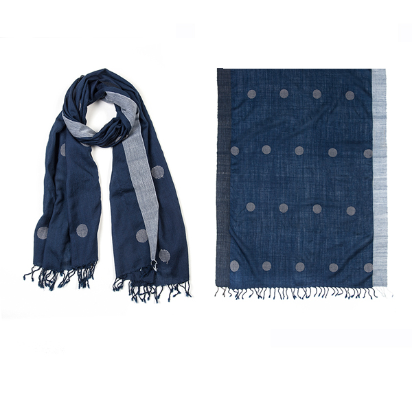 "002-019   MARINA DOTS SCARF  50% Cotton, 50% Wool; Handwoven; 23.5"" X 71"""