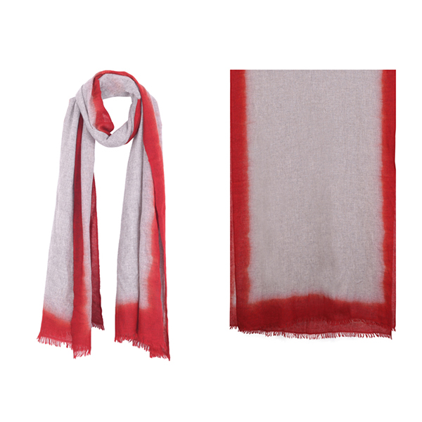 "001-004-RD   OMBRE SCARF CARMINE RED  100% Cashmere; Hand-Dyed;  27.5"" X 79"""