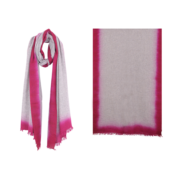 "001-004-FS   OMBRE SCARF FUCHSIA  100% Cashmere; Hand-Dyed;  27.5"" X 79"""