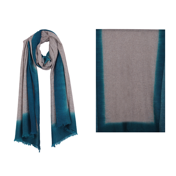 "001-004-TL   OMBRE SCARF TEAL  100% Cashmere; Hand-Dyed;  27.5"" X 79"""