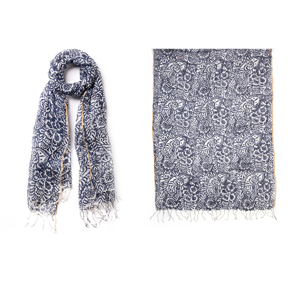 "011-004   LOLA BLOCK PRINT SCARF  100% Linen with Gold Lurex border details; 27.5"" X 71"""