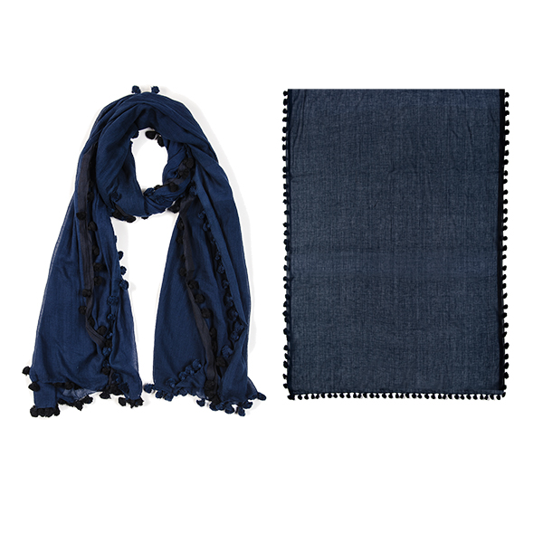 "002-027-NV     OUT TO SEA SCARF/SARONG NAVY  100%  Cotton; Handwoven; 35"" X 75"""