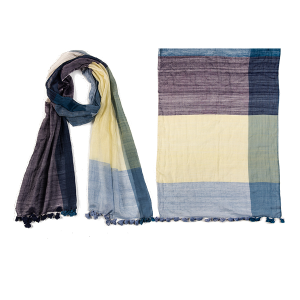 "002-023   COLOR BLOCK SCARF  50% Silk, 50% Cotton;Handwoven; 14"" X 71"""