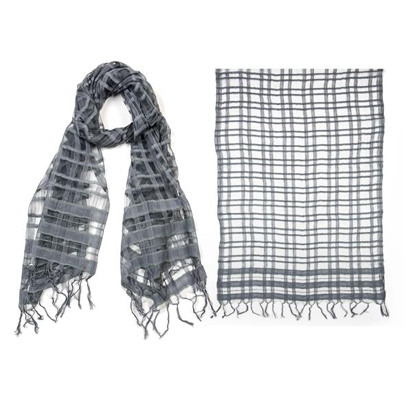 "002-025  SHEER PLAID SCARF  85% Cotton, 15% Silk;Handwoven;21.5"" X 71"""