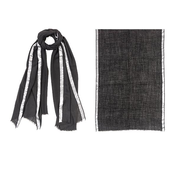 """006-007-BK  GLIMMER SCARF BLACK  90% Wool, 10% Lurex;27.5"""" X 71"""""""