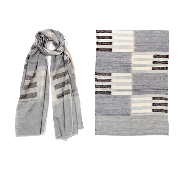 "011-008-GR   RACING STRIPES SCARF GRAY   100% Cashmere; Handwoven;    27.5"" X 79"""