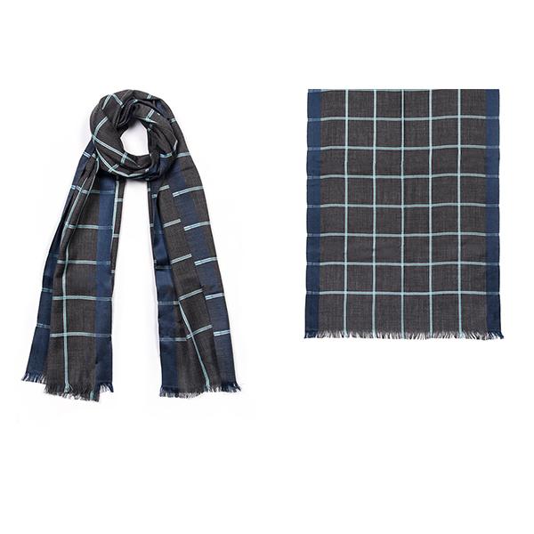 """001-039-BL CHECK SCARF BLUE  50% Wool,50% Silk;20"""" X 71"""""""