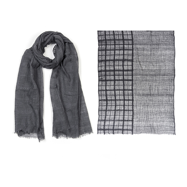 "002-020-GR BROOKLYN BLANKET SCARF GRAY  100% Wool;Handwoven;35.5"" X 87.5"""