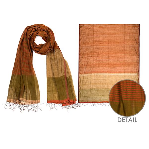 "002-022    CANYON STRIPES SCARF   90% Silk, 10% Cotton;  Handwoven;  35"" X 79"""