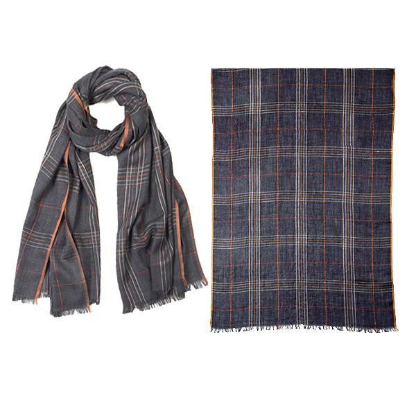 """001-051  LONDON PLAID SCARF  92% Wool, 8% Silk;27.5"""" X 71"""""""