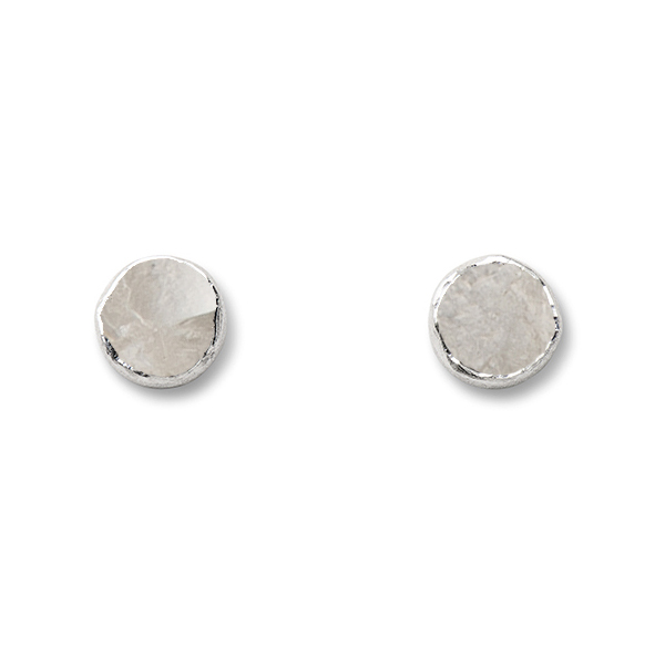 SJ147-CR   WHIRLPOOL CIRCLE STUD EARRINGS     Crystal Quartz;   Kaotica Finish; 9mm Round