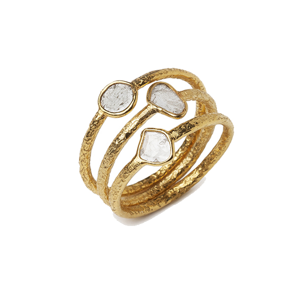 VG584GP  POLKI DIAMOND STACKING RINGS     Diamond Chips;18K Gold Plate over Sterling Silver;Textured, High Polish Finish;Set of 3