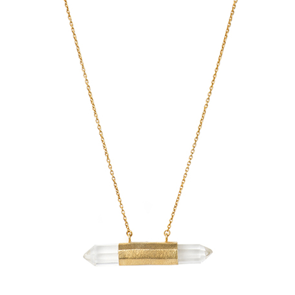 VG141GP-CR  DOUBLE NAIL NECKLACE     Crystal Quartz;18K Gold Plate over Sterling Silver; Kaotica Finish