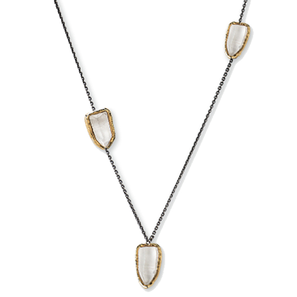 "ME040GP/RHO   ANTOINETTE NECKLACE    Crystal Quartz; Black Rhodium and 18K Gold Plate over Sterling Silver; High Polish Finish; 36"" Long"