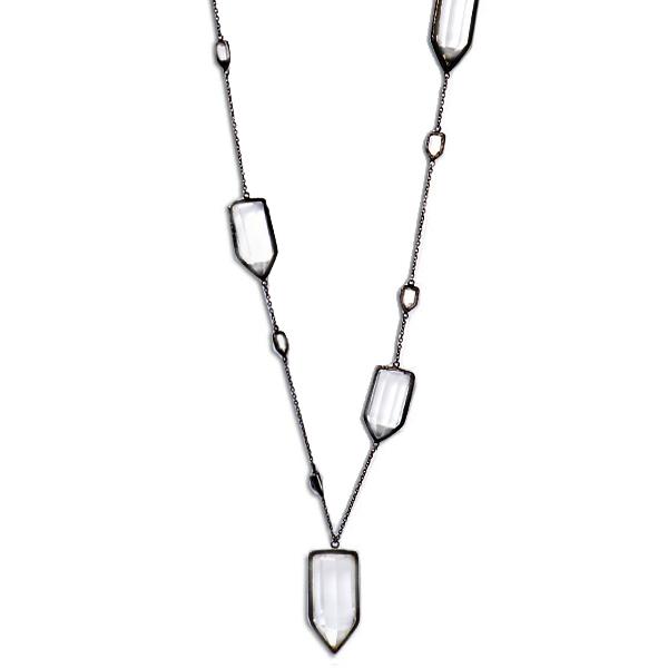 "ME010RHO  CHUNK NECKLACE     Crystal Quartz;Black Rhodium Plate over Sterling Silver;High Polish Finish;36"" Long"
