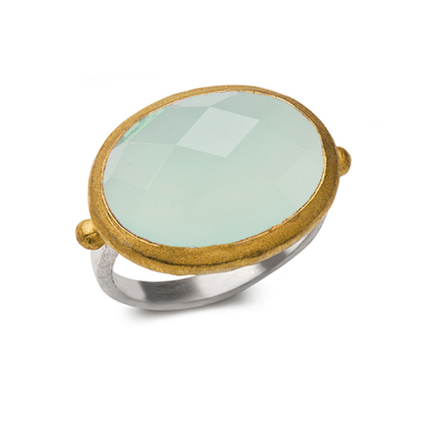 AB139   DREAMSICLE RING    Available in Aqua Chalcedony (pictured), Labradorite, or Pink Chalcedony; 18K Gold Plate over Sterling Silver; Satin Finish