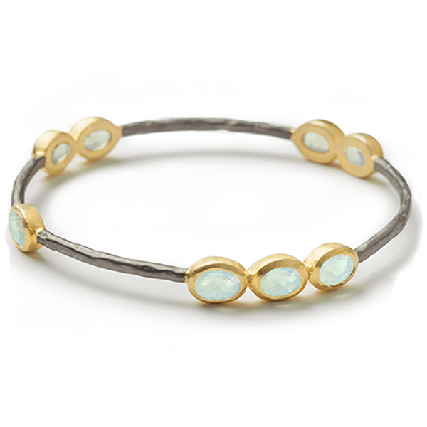 AB176   RAJ BANGLE     Available in Aqua Chalcedony (pictured) or Labradorite, Smoky Topaz, Rainbow Moonstone; Black Rhodium and 18K Gold Plate over Sterling Silver; Satin Finish