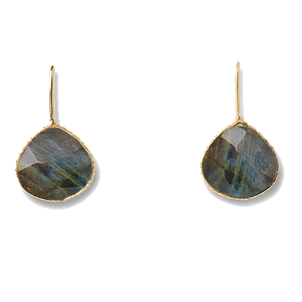 VG922 CHANCE EARRINGS      Labradorite; Sterling Silver or 18K Gold Plate over Sterling Silver; Hammered, High Polish Finish