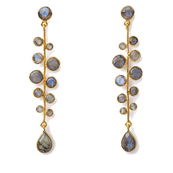 VG921   LATTICE EARRINGS     Labradorite; 18K Gold Plate over Sterling Silver; High Polish Finish