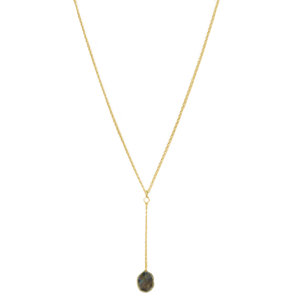 VG904GP-LB   YOLANDA NECKLACE       Labradorite; 18K Gold Plate over Sterling Silver; High Polish Finish