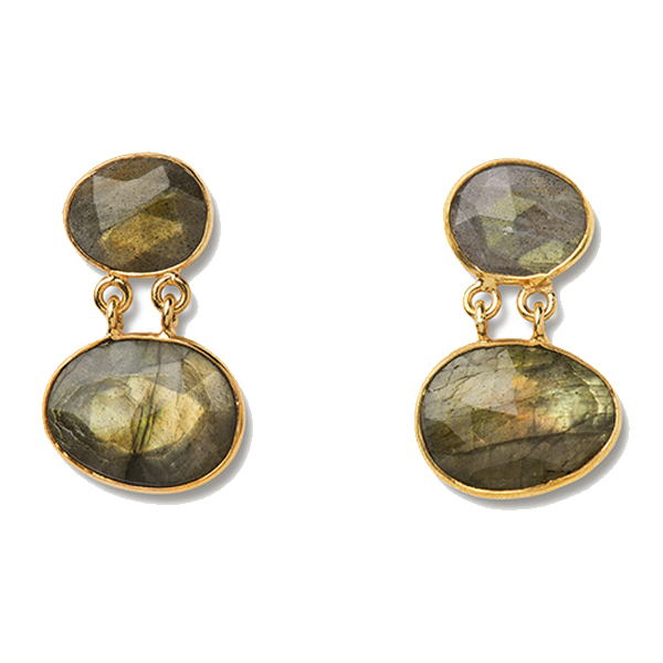 VG924   MILLICENT EARRINGS       Available in Labradorite (pictured) or Garnet/Amethyst; 18K Gold Plate over Sterling Silver; High Polish Finish