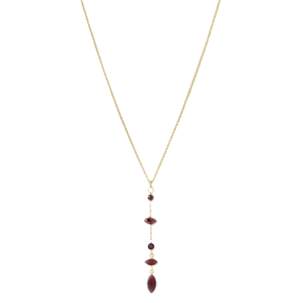 JT035GP-GA   HOLI DANGLES Y-NECKLACE        Garnet; 18K Gold Plate over Sterling Silver; High Polish Finish