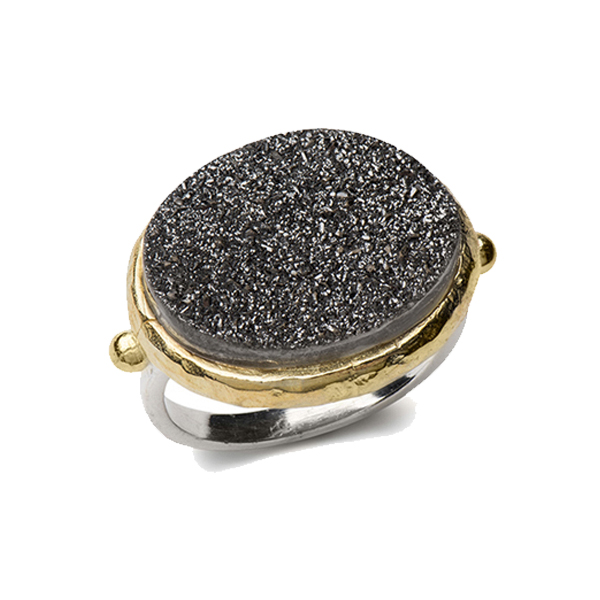 AB329     DREAMSICLE RING    Black Druzy; 18K Gold Plate over Sterling Silver; High Polish Finish