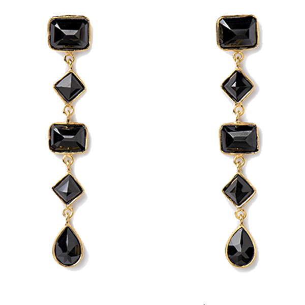 VG925-BX   RSVP EARRINGS      Black Onyx; 18K Gold Plate over Sterling Silver; High Polish Finish
