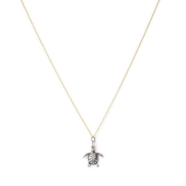MISC053  SANIBEL NECKLACE       Sterling Silver Pendant;18K Gold Plate over Sterling Silver Chain;Oxidized, High Polish Finish