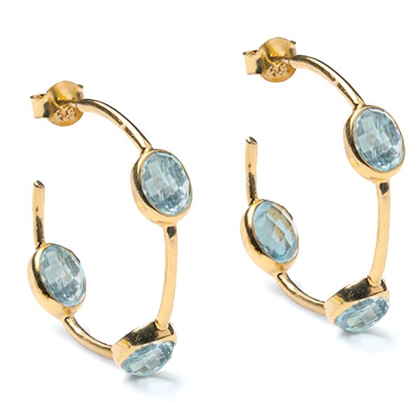 AB006GP-BT   SPACED STONE HOOPS       Blue Topaz; 18K Gold Plate over Sterling Silver; High Polish Finish
