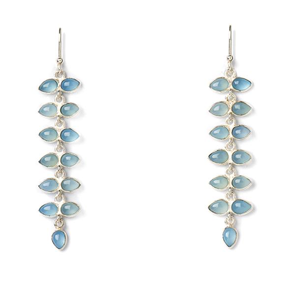 JT001-BC  PALMERA EARRINGS    Blue Chalcedony;High Polish Finish