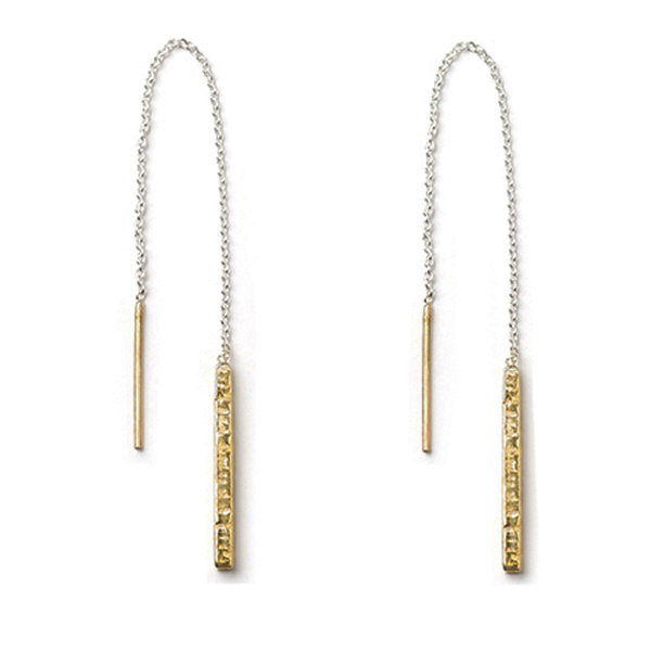 AB241GP STATIONS THREADER EARRINGS   18K Gold Plate over Sterling Silver; Hammered, High Polish Finish