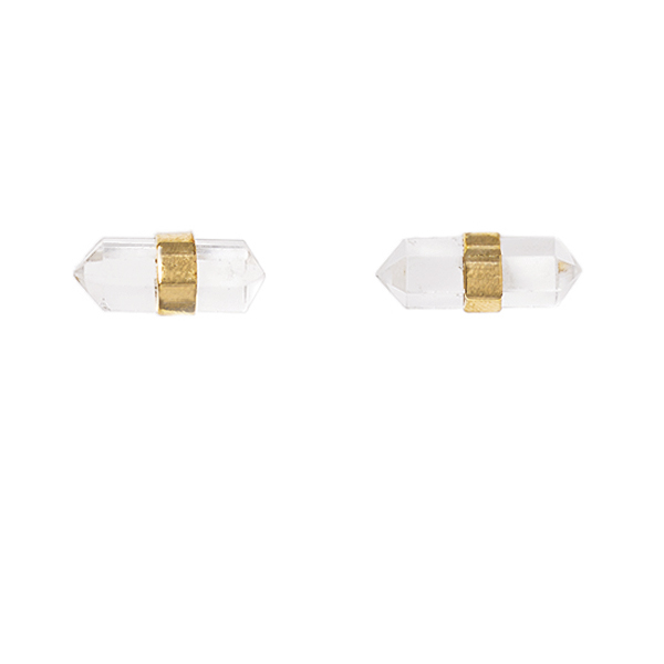 VG958  CRYSTALITA EARRINGS      Crystal Quartz;18K Gold Plate over Sterling Silver; K  aotica Finish
