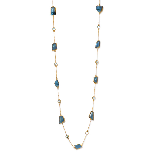 "JT030-LB  MOSAIC NECKLACE      Blue Topaz, Labradorite; 18K Gold Plate over Sterling Silver; High Polish Finish; 38"" Long"