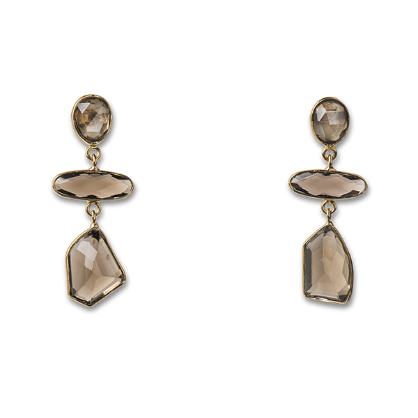 JT041GP-SM  CHUNKY MOSAIC EARRINGS      Smoky Topaz; 18K Gold Plate over Sterling Silver; High Polish Finish