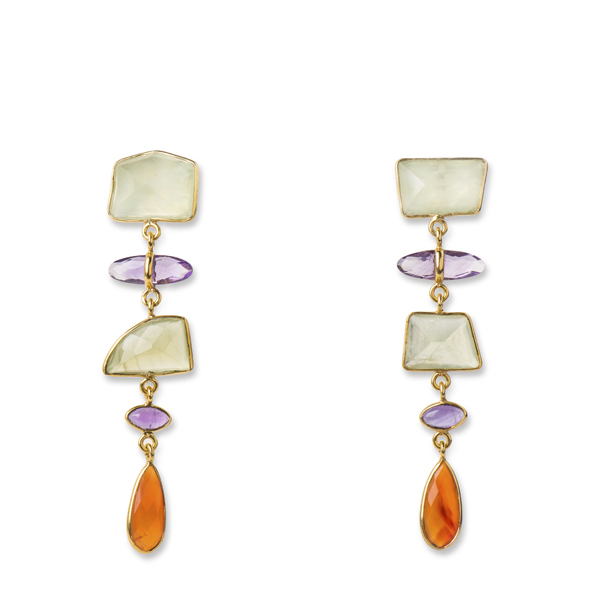 JT032-FI   DOLLOP EARRINGS FIESTA       Amethyst, Carnelian, Prehinite; 18K Gold Plate over Sterling Silver; High Polish Finish