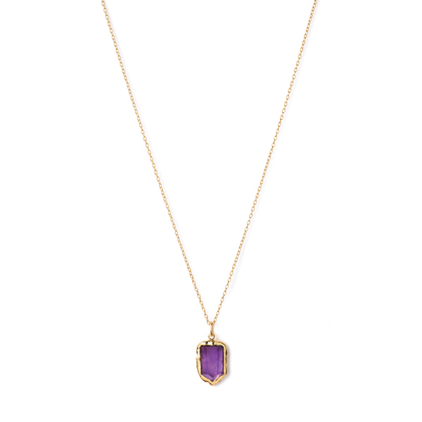 JT009GP-AM  ICICLE NECKLACE      Amethyst; 18K Gold Plate over Sterling Silver; High Polish Finish