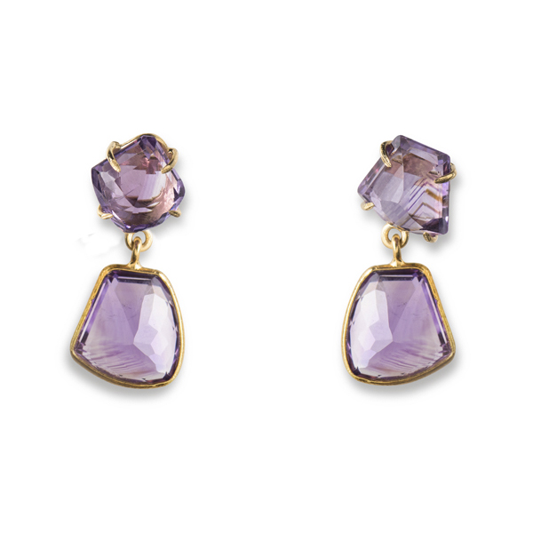 JT037GP-AM   SHEBA EARRINGS       Amethyst; 18K Gold Plate over Sterling Silver; High Polish Finish